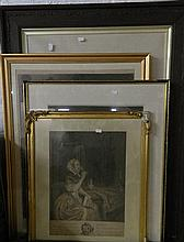 4 various framed engraved portraits
