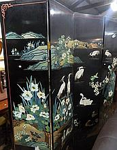 A four panel folding Chinese screen