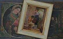Woman Spinning, Madonna & Child after Raphael + The Pot Decorator each oil (3)