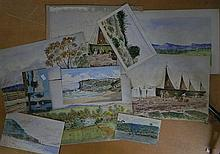 Australian School, 9 various watercolours, unframed, some Sydney scenes some dated 1865/90