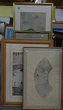 4 Various Japanese & Chinese prints framed