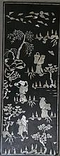 A Mother of Pearl inlaid timber panel depicting Travellers