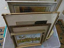A box of 9 various seascapes & water scenes, framed