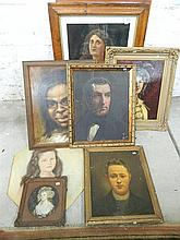 6 various portraits some framed