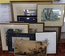 10 Various watercolours, prints & drawings including Hedley Parsons, Jan de Leener & Hyde Perrott