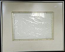 Cedar Prest, Tjilbuke Pieta 1995, etched glass panel, signed & dated lower right, 25 x 36 cm