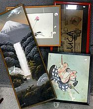 Japanese School, 4 various artworks, framed