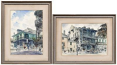 Two New Orleans watercolors: two street scenes,