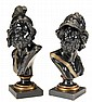 Two Patinated and Gilt Bronze Busts of