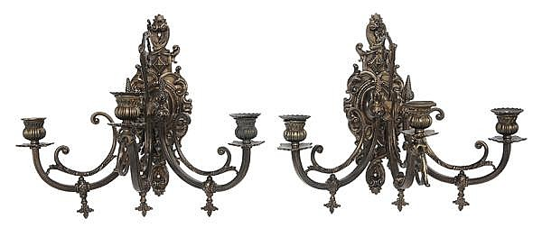 Pair Cast Brass Wall Sconces
