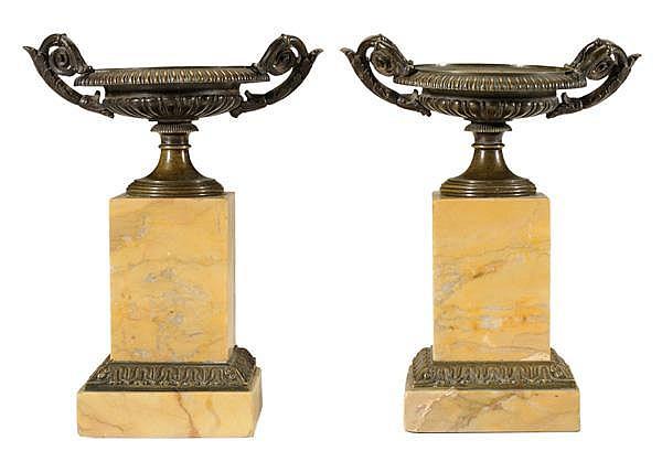 Pair Bronze [Campana] Urns, Sienna