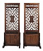 Pair Carved Teak Doors/Stands