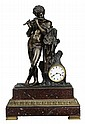 Cast Bronze and Marble Mantle Clock
