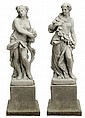 Two Cast Stone Garden Statues