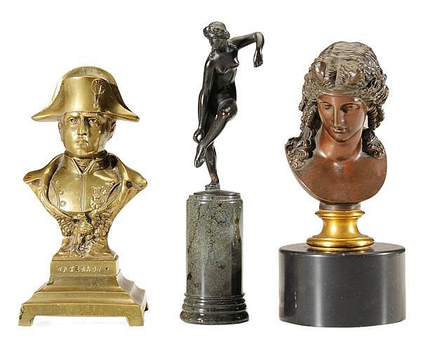 Three Gilt/Patinated Bronze Figures
