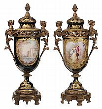 Pair Sèvres Hand-Painted Ormolu-
