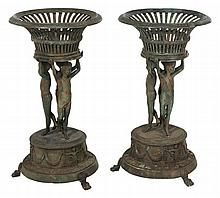 Pair Roman Style Patinated Bronze