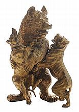 Monumental Gilt Bronze Bear and Dog