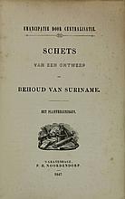 [Surinam]. (Lans, W.H.). Emancipatie door centralisatie. Schets van een ontwerp tot behoud van Suriname. The Hague, P.H. Noordendorp, 1847, IV,157,(2)p., 6 fold. handcol. lithogr. plans, orig. wr. - Sm. owner's stamp verso frontwr. Backstrip