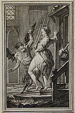 La Fontaine, J. de. Contes et nouvelles en vers. Amst., n.publ., 1764, 2 vols., X,(2),214,(2),16; (2),VIII,(2),254,(1)p., engr. frontisp. portr., 2 title-vignettes, 80 plates after EISEN, and 65 vignettes and head- and tailpieces, later unif. red