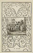 LaMotte, A.H. de. Fables nouvelles, dediees au roy. Amst., R. & J. Wetstein and G. Smith, 1727, 4th ed., 2 parts in 1 vol., 210; 153,(3)p., engr. frontisp. and 99 plates w. arabesque borders by W. JONGMAN , contemp. calf w. gilt ribbed spine. - A few