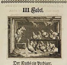 LaMotte, A.H. de. Neue Fabeln. Aus dem Französischen in Deutsche Verse übersetzt. Frankf. a.M./ Leipsic, (G. Siegert, 1736), (22),367,(9)p., engr. frontisp., title-vignette, num. ills. by G. BÖHMER, 20th cent. gilt hmor. - Contents occas. sl.