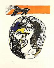 Corneille (1922-2010). Dialogue avec l'oiseau. Colour serigraph, 41,5x35,5 cm., signed