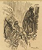 Steinlen, T.A. (1859-1923). (A group of military men). Drawing, black crayon, 34,5x25 cm., signed