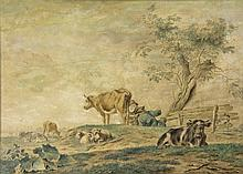Janson, J. (1729-1784). (A woman milking a cow in a meadow, while talking to a reclining man and surrounded by cattle). Watercolour, signed