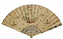[Fans]. (Fan decorated with a circular drawing of a rural Dutch view with a church, and two oval drawings of a beehive and of a basket with flowers). Watercolour on paper, carved ivory(?) sector-spokes, ±1800, total length 23,5 cm., width (unfolded)