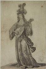 Quast, P.J. (1606-±1647). (Elegant lady playing the lute). Drawing, black crayon and grey wash, 27,5x18,9 cm., monogrammed