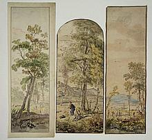 Anonymous (18th cent.). (Arcadian landscapes). Lot of 4 drawings, pen and ink and brush and watercolour 19,1x10,8/ 35,5x10,8/ 36x11,1/ 32,2x13,3 cm., ±1760-1780. - One drawing with waterstains in upper part; one drawing w. oxidized lead white; the