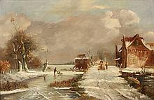 Sypkens or Sijpkens, F.H. (1813-1860) (after?). (Dutch winterlandscape). Oil on canvas, 35x53 cm., with signature
