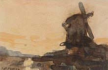 Jansen, W.G.F. (1871-1949). (A mill at sunset). Watercolour, 5,5x8,5 cm., signed, framed. Idem. (A mill on a canal amid several other buildings). Drawing, pencil, 4,9x7,2 cm., signed, framed.