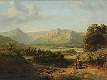 Lieste, C. (1817-1861). (Mountainous riverlandscape with two peasants kneeling before a cross in the foreground). Oil on panel, 24x31,5 cm., signed in lower right corner, framed. = SEE ILLUSTRATION PLATE CXXXI.