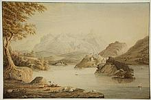 Anonymous (late 19th cent.). (Landscape with a lake, a mountain range in the background). Drawing, pencil and watercolour, 27x41 cm., brown framing line. - Trifle yellowed/ foxed. = Nice landscape in late summer, a shepherd resting with his sheep and