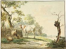 Anonymous (19th cent.). (Dutch landscape with a bull and three sheep, a canal with a rowing boat in the background). Drawing, pen and brown ink and watercolour, brown framing line, 12,5x16,5 cm. - Tiny bare spot in lower left corner.  = Fine drawing.
