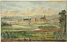 Anonymous (late 18th cent.). (View of of a (prob. German) village surrounded by cultivated fields). Drawing, pen and black ink and watercolour, 19,4x31,4 cm. = Nice, sl. naive drawing.