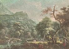 Troost W. (1684-1759). (Wooded landscape with people crossing a bridge). Gouache, 19x25 cm., signed