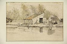 Borssom, A. van (±1629-1677) (attrib.). (River-bank with a small yard). Drawing, black chalk and watercolour, framing line, 17,7x25,4 cm.  - Very vaguely foxed; colours faded (strip of blue still visible at bottom). = SEE ILLUSTRATION PLATE CXXII.