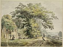 [Haarlem and surroundings]. Noorde, C. van (1731-1795). (A house and country road at Overveen). Drawing, pen and black ink and watercolour, 18x24,4 cm.,