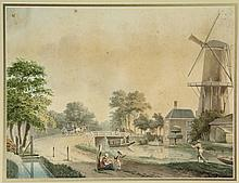 Anonymous (early 19th cent.). (Mill and houses near a bridge across a river with passing boats). Watercolour, 26,8x35,5 cm., framed. = Nice typically Dutch scene. SEE ILLUSTRATION PLATE CXVIII.
