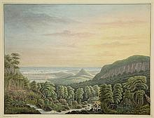 Ver Huell, Q.M.R. (1787-1860). (Two gentlemen in a Mauritian landscape, Port Louis in the background). Drawing, watercolour and some gouache, 26,5x35,1 cm., w.