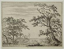 Verboom, A.H. (±1628-±1670). Landscape with a stream. Etching, 13,2x17,5 cm. - Fine impression on paper with