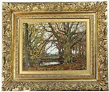 Gorter, A.M. (1866-1933). Karelshaven (Herfst). Oil on canvas, 31,5x41,5 cm., signed in lower right corner, framed. = Title supplied on visiting card on verso frame. SEE ILLUSTRATION PLATE CXXIX.