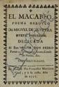 Silveyra, M. de. El Macabeo. Poemo Heroyco.