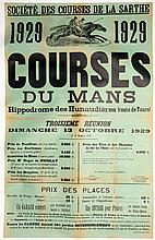 A French horse racing poster for a meeting at Le Mans 13th October 1929,