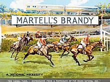 A Martell's Brandy advertisement poster featuring a scene at the Canal Turn in the 1925 Grand National,
