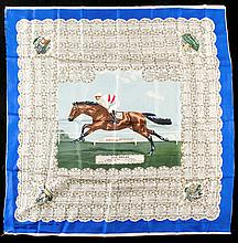 A ladies silk scarf commemorating the victory of the Madame Volterra's French-bred Phil Drake in the 1955 Derby,