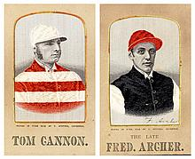 A group of four prints/stevengraphs of jockeys,